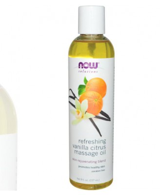 Now Foods, Refreshing Vanilla Citrus Massage Oil, 8 fl oz (237 ml)