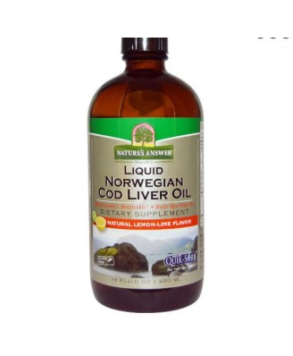 Liquid Norwegian Cod Liver Oil, Natural Lemon-Lime Flavor, 16 fl oz (480 ml) - Nature's Answer
