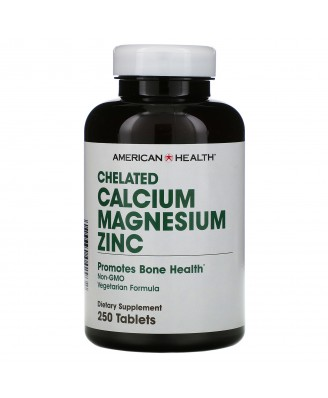 Chelated Calcium Magnesium Zinc (250 tablets) - American Health
