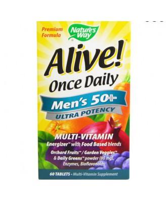 Nature's Way, Alive! Einmal täglich, Herren 50 +, Ultra Potenz, Multi-Vitamin & Whole Food Energizer, 60 Tabletten