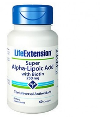 Super Alpha-Liponsäure mit Biotin 250 Mg - 60 Kapseln - Life Extension
