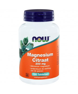 Magnesium Citraat 200 mg (100 tabletten) - Now Foods