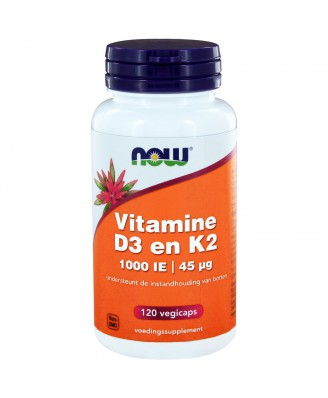 Vitamine D3 en K2 - 1000 IE | 45 µg (120 vegicaps) - NOW Foods