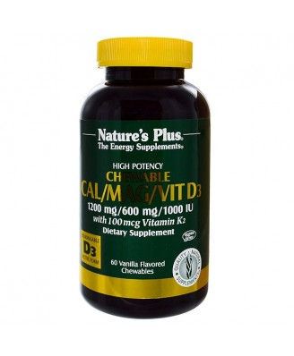 Cal/Mag/Vit D3 Vanilla Flavored (60 Chewable Tablets) - Nature's Plus