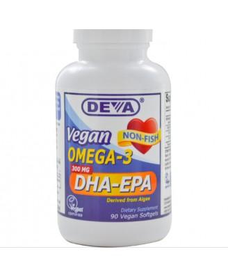 Deva, Vegan Omega-3, DHA-EPA, 300 mg, 90 Vegan Softgels