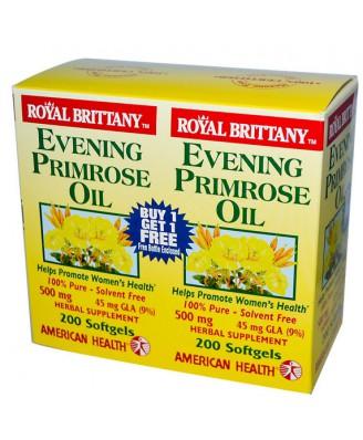 American Health, Royal Bretagne Nachtkerzenöl 500 mg, 2 Flaschen, 200 Kapseln pro Stück