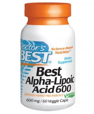 Doctor's Best, besten Alpha-Liponsäure 600 mg, 60 Veggie Caps