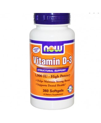 Now Foods, Vitamin D-3, hohe Potenz, 1.000 IE, 360 Kapseln