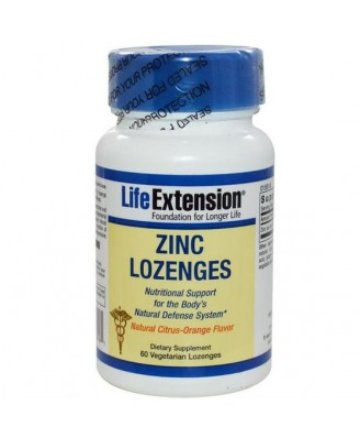 Life Extension, Zinc Lozenges, Natural Citrus-Orange Flavor, 60 Veggie Lozenges