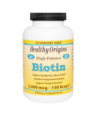 Healthy Origins, Biotin, High Potency, 5,000 mcg, 150 Vcaps