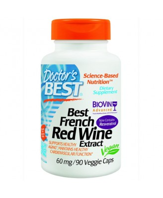 Best French Red Wine Extract 60 mg (90 Veggie Caps) - Doctor's Best