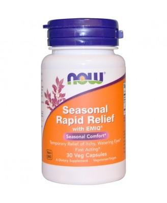 Seasonal Rapid Relief With EMIQ (30 Vegetarian Capsules) - Now Foods
