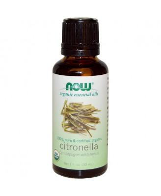 Organic Essential Oils- Citronella Oil (30 ml) - Now Foods