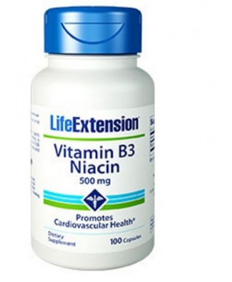 Vitamin B3 Niacin 500 Mg - 100 Capsules - Life Extension