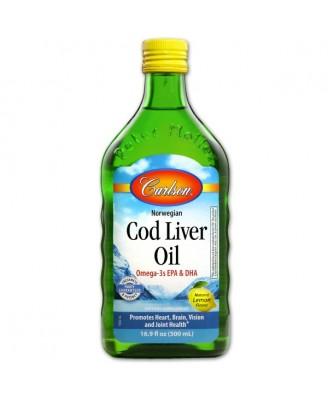 Wild Norwegian Cod Liver Oil- Natural Lemon (500 ml) - Carlson Laboratories