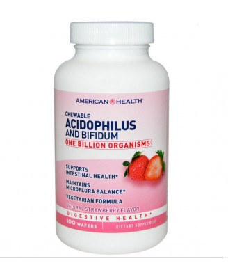 American Health, Chewable Acidophilus and Bifidum, Natural Strawberry Flavor, 100 Wafers